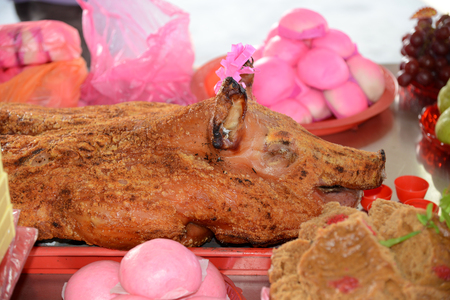 chinese pig: Whole Roasted Pig At A Chinese Festival