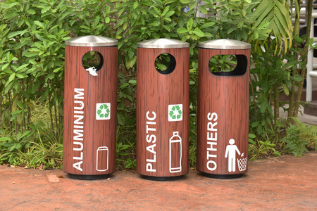 degradable: Recycle Bins At A Park For Collection Of  Different Materials