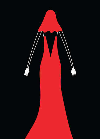 woman red dress: Vector image of woman in red dress and white gloves