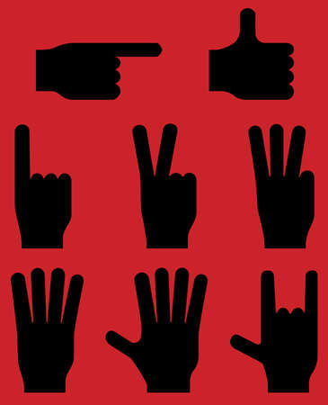 numbering: Hand gestures pictograms. Vector.