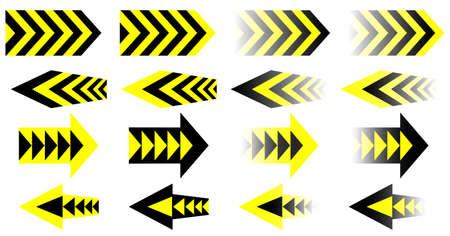 yellow black: Vector amarillas Flechas Negras. Set. Vectores