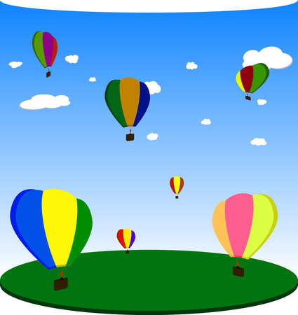 horizont: Balloons. Vector.
