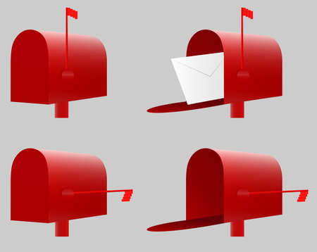 Red Mailbox. Vector. EPS10. 4 variantsclosed and opened with new unread lettermessage, closed and opened with no new unread lettermessage.