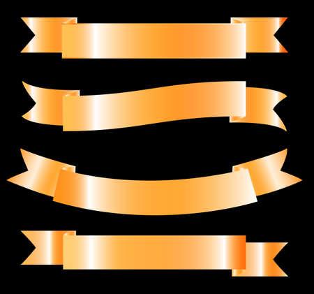 golden ribbon: Golden Ribbon - Vector Design Element. Set. Illustration