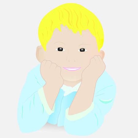 pajamas: Smiling Child With Blond Hairs In Blue Pajamas. Vector.