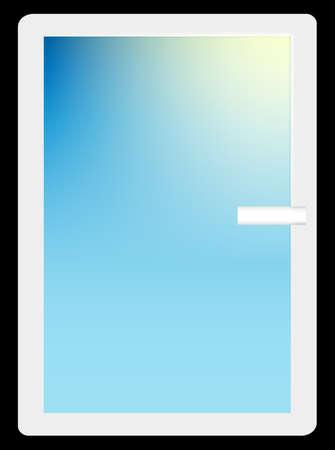 white window: Blanco Ventana Con rayos del sol. Vector. 10 EPS.