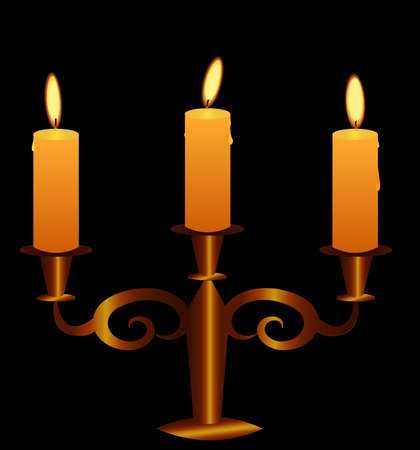 candelabrum: Bronze Candlestick With Lightening Candles. Vector EPS 10. Illustration
