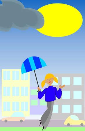 girl in rain: Rain Is Over. Smiling Girl With Umbrella Enjoys The Sun. Vector EPS 10.