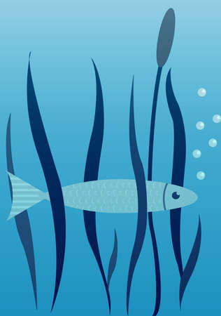 mere: Vector Image Of Fish, Seaweed And Cane