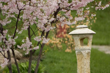 traditional japanese stone lantern  photo