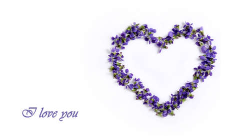 Delicate spring violets in the shape of a heart on a white background. Love card