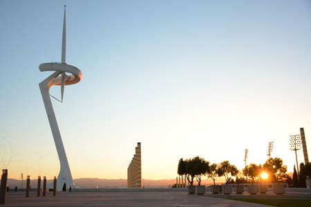 montjuic: Olympic park in Barcelona at sunset, television tower Stock Photo