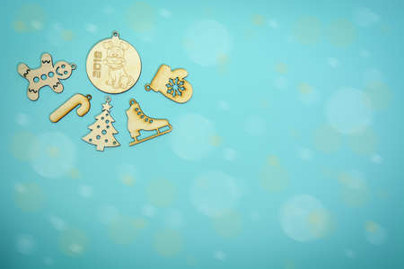 Christmas decoration on turquoise background