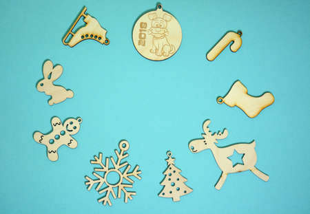 Christmas decorations on turquoise background Stock Photo