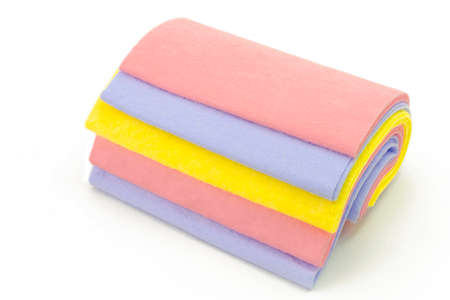 Cleaning rags a set of colorful washcloths isolated on white Stock Photo