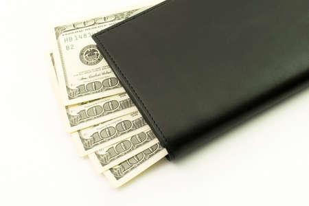 검은 색 지갑에 돈. 100 지폐. 현금, 달러 근접 촬영의 팬 스톡 콘텐츠