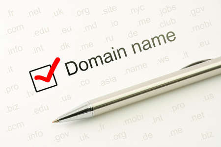 Domain name choice concept, web site naming. WWW unique registration address. Host identifier