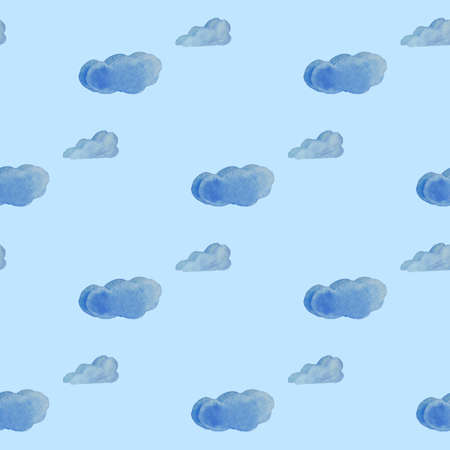 Clouds seamleass pattern watercolor for textyle, backgrounds, web, wallpaper, texture in blue and lightblue color