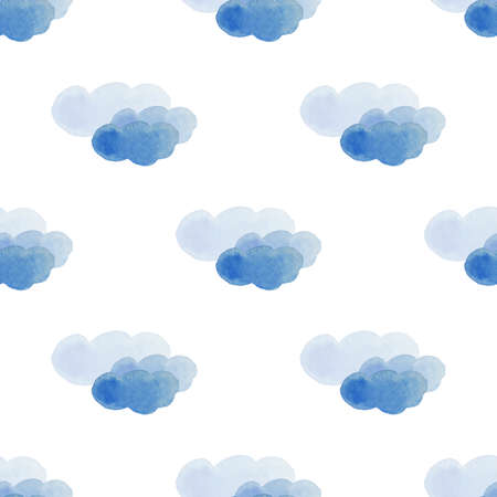 Clouds watercolor seamleass pattern for textyle, backgrounds, web, wallpaper, texture in blue and lightblue color