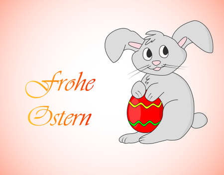 Frohe Ostern - Happy Easter in German. Easter bunny with egg vector illustration drawn by hand on peach background Illustration