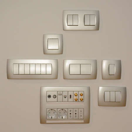 Set of switches white modern style for design closeup Imagens