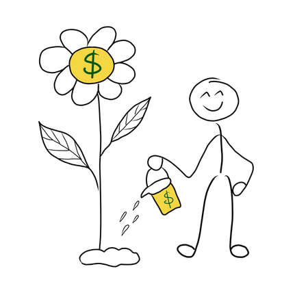 Stick man money investment concept. Investment pays off. Stickman like watering flower where money grow. Drawn by hand illustration digital art