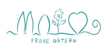 Frohe Ostern. Happy Easter on German. Vector illustration banner. Egg, heart, bunny and flower