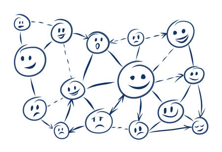 Communication and social networks. Stickman curly heads and different emotions Illustration