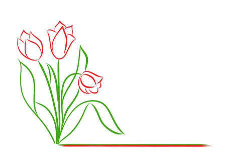 Bouquet of tulips in doodle style with empty space. Hand drawn vector illustration. Greeting card. Happy Mothers day. Happy Womens day