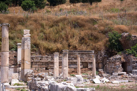 Ephesus ancient city old ruins at sunny day, Izmir, Turkey. Turkish famous travel landmark