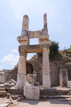 Ephesus ancient city old ruins at sunny day, Izmir, Turkey. Turkish famous landmark