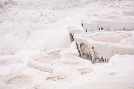 Pamukkale travertine pools and terraces carbonate mineral at ancient Hierapolis, Turkey.
