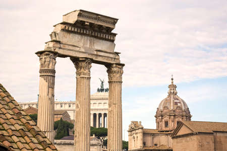 Roman Forum architecture ruins in Rome, Italy. Italian ancient buildings and famous landmarks