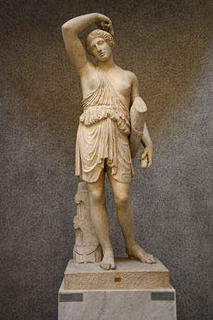 Vatican City, Vatican - December 14, 2018. Roman statue of Wounded Amazon in Vatican Museums in Rome, Italy