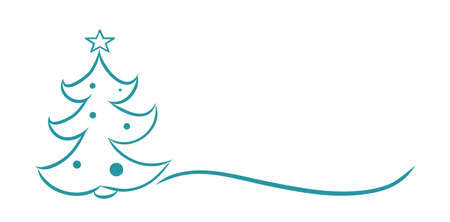 Christmas tree line drawing vector illustration. Happy New Year banner template with copy space