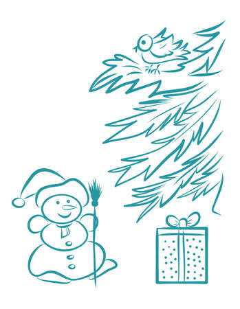 Snowman with gift under Christmas tree line art hand drawing vector illustration in doodle style
