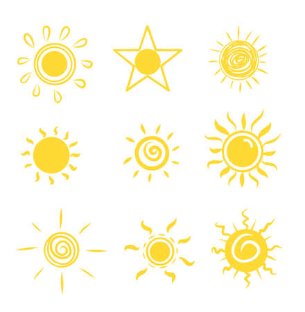 Sun set icons drawn by hand, vector illustration. Sun happy cartoon