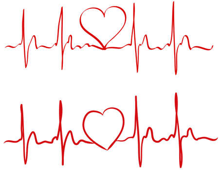 Heart pulse continuous one line drawn by hand in red color. Love concept. Heartbeat cardiogram, medical background. Digital painting doodle style in vector EPS 10. Valentines day concept