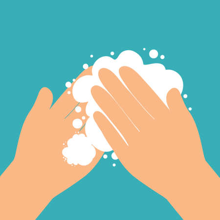Washing hands with soap flat style vector illustration drawn by hand. Hygiene concept