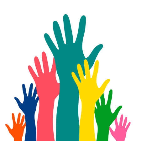 Hands up career symbol colorful vector illustration. Hands silhouettes cultural and ethnic diversity. Multinational concept of team, volunteer, group, association, company, partnership