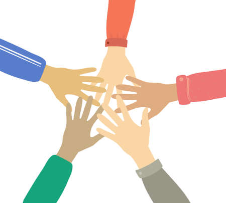 Teamwork and friendship hands together concept vector illustration. Multinational concept of team, volunteer, help, charity, group, association, company, partnership, support and cooperation