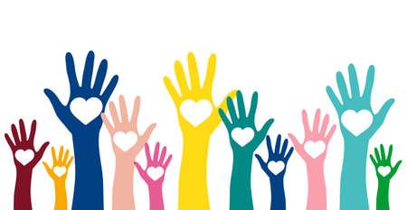 Freiwilligenarbeit, Nächstenliebe und Spendenkonzept. Angehobene bunte Hände mit weißem Herzvektorgestaltungselement
