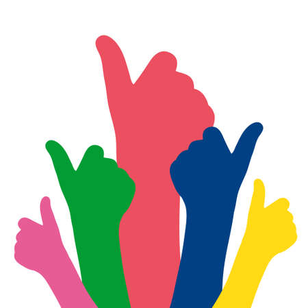 Like hands colorful silhouette vector illustration. Thumb up sign flat design Vettoriali