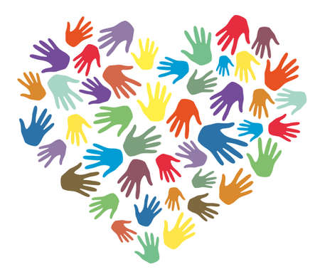 Colorful hands palms in heart shape vector. Love, team, friendship, charity, volunteering, help, community support and social care concept