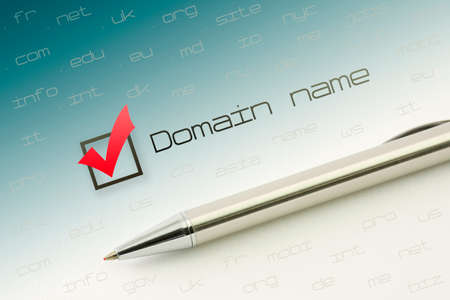 Domain name choice concept, web site naming zones. Buy www internet address.