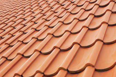 rooftile: Background perspective of red roof clay tiles