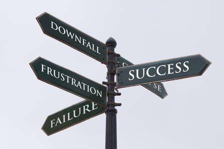 education choice: Directions road sign for success failure frustration and downfall