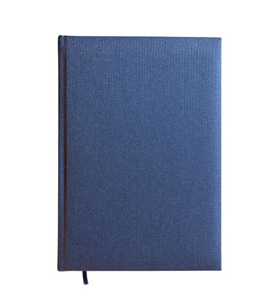 hardback: Blue closed book isolated over white background. View from above. Stock Photo