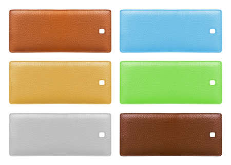 Blank leather price tags isolated over white background. Different colors. photo