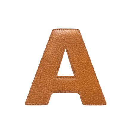 stitched: Letter A made of stitched leather isolated over white background. Orange color. Frontal view.
